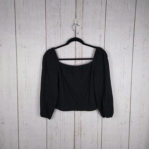 Wild Fable Black Puff Sleeve Crop Top Large